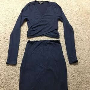 Two piece navy blue skirt and crop